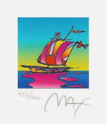 "Splendid Peter Max Hand Signed w/COA Cosmic Sailboat Ltd Ed Lithograph 3.5"" x 3"""
