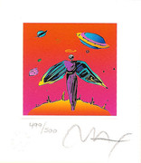 """Splendid Peter Max SIGNED with COA  Angel with Saturn Ltd Ed Litho 3.5"""" x 3"""""""