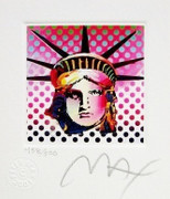"Great Peter Max SIGNED with COA Liberty Head II, Ltd Ed Lithograph 3.5"" x 3"""