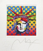 "Fab! Peter Max - SIGNED w/ COA Liberty Head V Ltd Ed Lithograph 3.5"" x 3"""