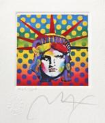 """Fab! Peter Max - SIGNED w/ COA Liberty Head V Ltd Ed Lithograph 3.5"""" x 3"""""""