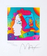 "Stunning Peter Max - SIGNED w/ COA Cosmic Profile Ltd Ed Lithograph 3.5"" x 3"""