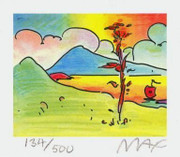 "Peter Max Hand Signed w/ COA Tree with Sailboat Ltd Ed Litho 2.75"" x 3.125"""