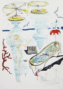 Great Liquid Tornado Bathtub, Ltd Ed Mixed Media (Lithograph & Collage), Salvador Dali