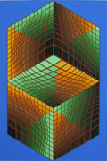 Beautiful Museum #1, Ltd Ed Silk-screen, Victor Vasarely - Large!