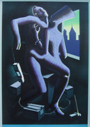Dynamic Close Call, Ltd Ed Silk-screen, Mark Kostabi - Large!