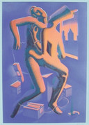 Exciting Close Call, Ltd Ed Silk-screen, Mark Kostabi - Large!