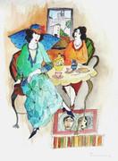 Splendid Untitled, Mixed Media (Watercolor & Ink), Itzhak Tarkay