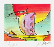 "Fab! Peter Max - SIGNED w/COA Sailboat Series IV, Ltd Ed Litho 2.75"" x 3.125"""