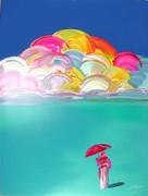 Stunning Umbrella Man with Rainbow Sky Serigraph, Peter Max - Signed