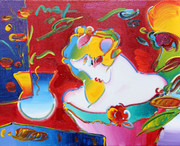 Beautiful Flower Blossom Lady Acrylic on Canvas, Peter Max