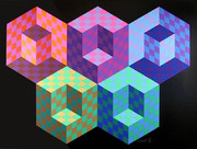 Stunning Hexa 5 Serigraph, Victor Vasarely - Signed