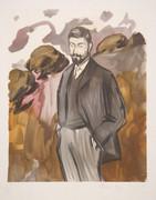 Pablo Picasso Estate Collection Portrait D'un Homme Debout avec Barbicne Hand Signed with COA
