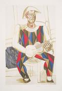 Pablo Picasso Estate Collection Arlequin a la Guitare Hand Signed with COA