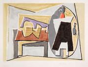 Pablo Picasso Estate Collection Nature Morte a la Guitare et Pulcinella Hand Signed with COA