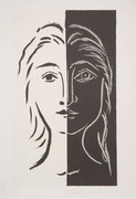 Pablo Picasso Estate Collection Portrait en Deux Parties Noire et Blanche Hand Signed with COA