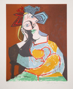 Pablo Picasso Estate Collection Femme Accoudee au Drapeau Bleu et Rouge Hand Signed with COA