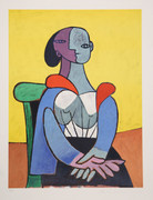 Pablo Picasso Estate Collection Femme A La Chaise Sur Fond Jaune Hand Signed with COA