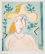 Pablo Picasso Estate Collection Femme a la Collerette Hand Signed with COA