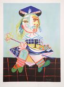 Pablo Picasso Estate Collection La Fille De L'Artiste À Deux Ans Et Demi Avec Un Bateau Hand Signed with COA
