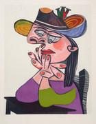 Pablo Picasso Estate Collection Femme Accoudee En Robe Mauve Et an Drapeau Hand Signed with COA