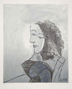 Pablo Picasso Estate Collection Buste De Femme Aux Cheveux Bouchles Hand Signed with COA