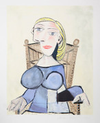 Pablo Picasso Estate Collection Femme Blonde Au Fauteuil D'Osier Hand Signed with COA
