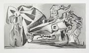 Pablo Picasso Estate Collection Nature Morte a la Tete Chevre, Bouteille Hand Signed with COA