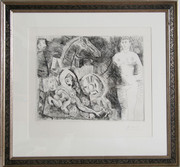 Pablo Picasso, Char Romain, avec ecuyere tombant, femme nue et spectateurs from the 347 Series, Etching  - Signed