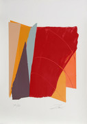 Great Red Line I Serigraph, Larry Zox - Signed