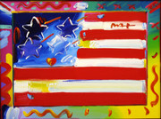 Hand Signed Flag By Peter Max Retail $40K