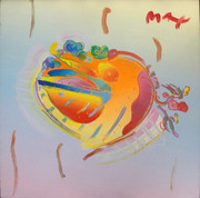 Hand Signed Heart By Peter Max Framed Retail $14K