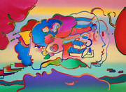 Hand Signed Three Faces By Peter Max Retail $4.7K