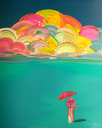 Hand Signed Umbrella Man With Rainbow Sky By By Peter Max Retail $4K