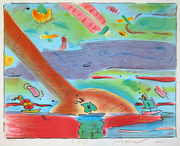 Hand Signed Sailboats By Peter Max Retail $3.45k