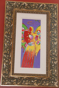 Signed in Pigment Angel With Heart Detail Ver. Iv #7 By Peter Max Framed Retail $15.9K