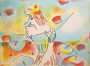 Hand Signed Composition Red And Green By Peter Max Retail $7K