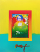 Hand Signed Mona Lisa (Yellow Overpaint) By Peter Max Retail $3.8K