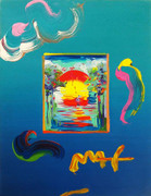 Hand Signed Without Borders (Overpaint) By Peter Max Retail $2.5K
