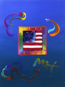 Beautiful Hand Signed Flag By Peter Max