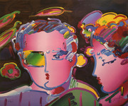 Hand Signed Couple By Peter Max Retail $4.5K