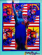 Hand Signed God Bless America - With Five Liberties by Peter Max Framed Retail $3.25K