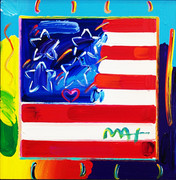 Hand Signed Flag By Peter Max Framed
