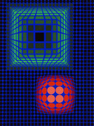 Hand Signed Geometric Composition By Victor Vasarely Retail $5.1K