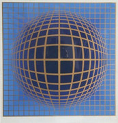 Hand Signed Domb B-Blue By Victor Vasarely Retail $2.1K