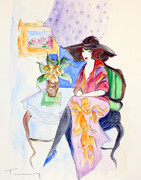 Hand Signed Woman With Floral Skirt By Itzchak Tarkay Retail $5.2K