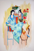 Hand Signed Untitled (Blue Floral Dress) by Itzchak Tarkay Retail $7.8K