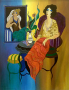 Hand Signed Blue & Yellow Wall by Itzchak Tarkay Retail $24.1K