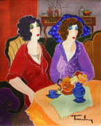 Hand Signed Sisters At Tea Time by Itzchak Tarkay Retail $13K