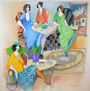 Hand Signed Cafe Life by Itzchak Tarkay Retail $5.9K